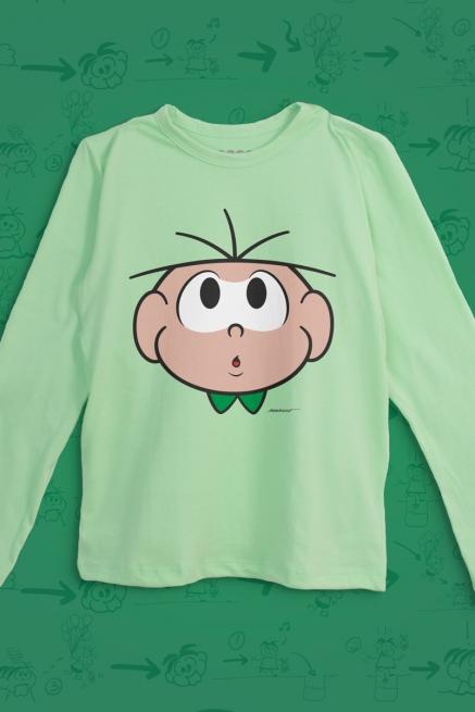 Camiseta Manga Longa Infantil Turma da Mônica Cebolinha Distraído