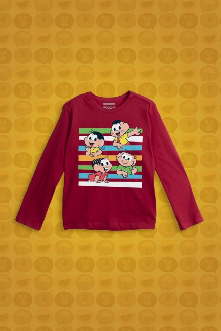 Camiseta Manga Longa Infantil Turma da Mônica Faixas