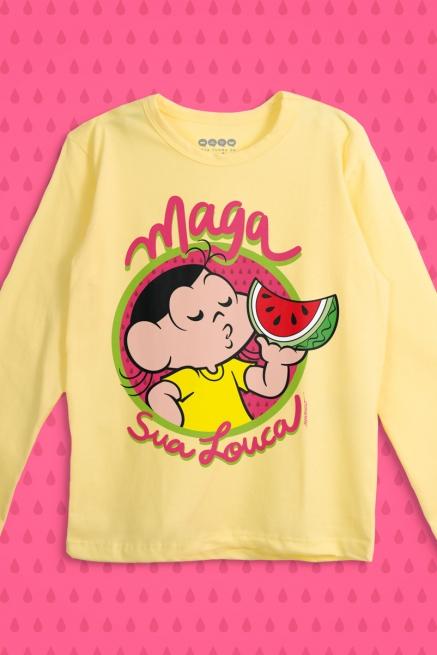 Camiseta Manga Longa Infantil Turma da Mônica Maga Sua Louca