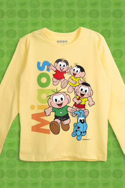 Camiseta Manga Longa Infantil Turma da Mônica Migos