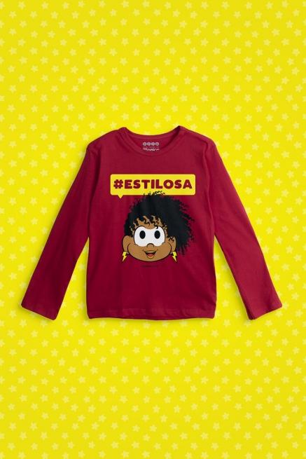 Camiseta Manga Longa Infantil Turma da Mônica Milena #Estilosa
