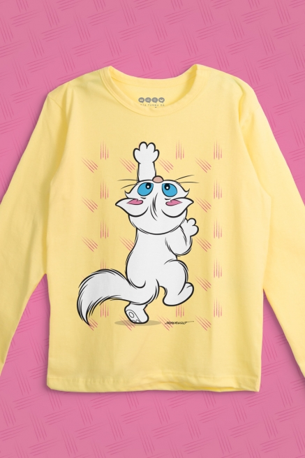 Camiseta Manga Longa Infantil Turma da Mônica Mingau Brincando
