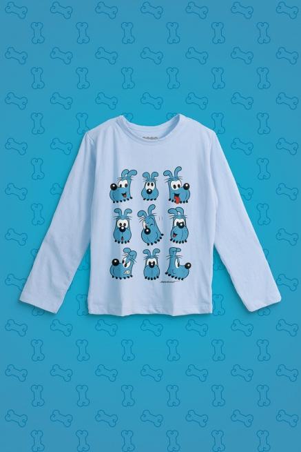 Camiseta Manga Longa Infantil Turma da Mônica Rostinhos Bidu