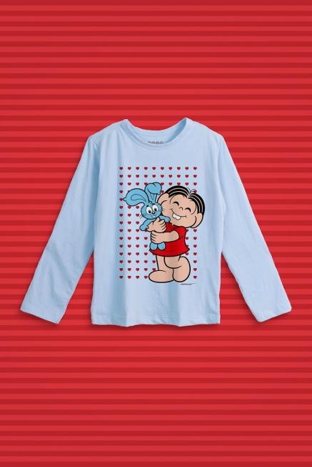 Camiseta Manga Longa Infantil Turma da Mônica Sansão e Mônica Abraço