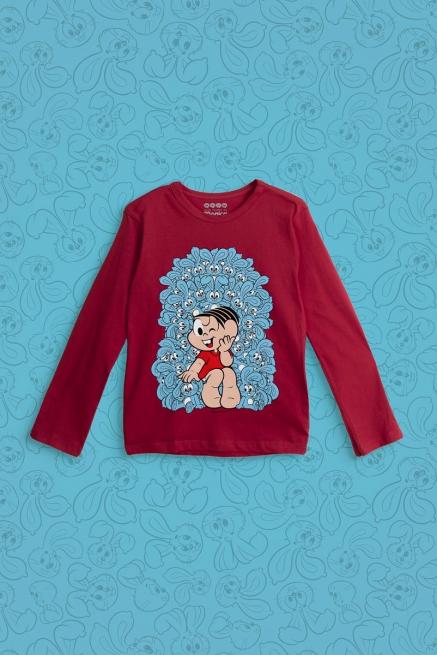 Camiseta Manga Longa Infantil Turma da Mônica Trono de Sansão