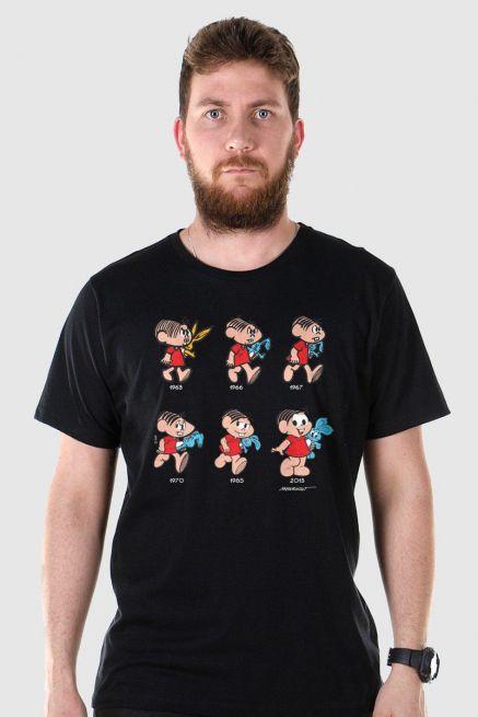Camiseta Masculina Turma da Mônica 50 Anos Evolução Modelo 2