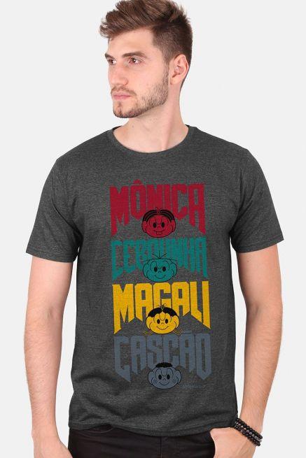 Camiseta Masculina Turma da Mônica A Turma do Rock