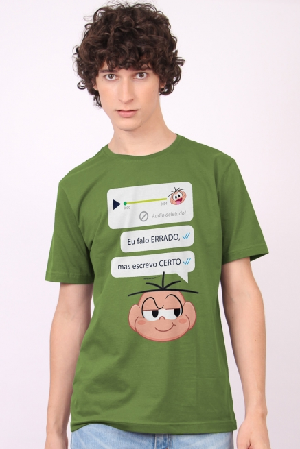 Camiseta Masculina Turma da Mônica Cebolinha Escrevo Certo