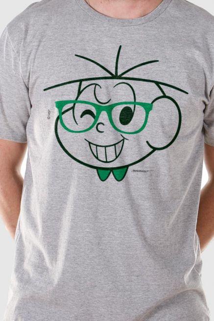 Camiseta Masculina Turma da Mônica Cebolinha Nerd