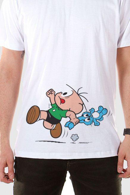 Camiseta Masculina Turma da Mônica Cebolinha Fugindo