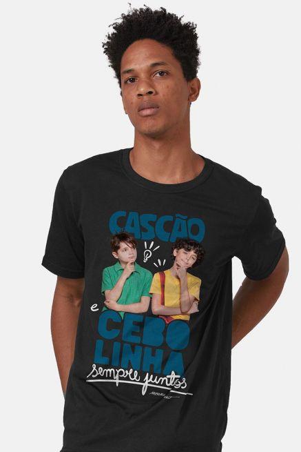 Camiseta Masculina Turma da Mônica Laços Cascão e Cebolinha Sempre Juntos
