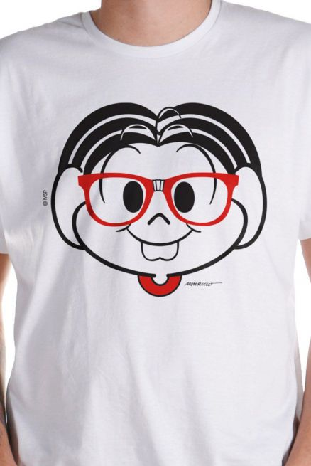 Camiseta Masculina Turma da Mônica Nerd