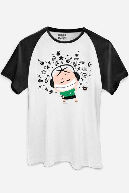 Camiseta Raglan Masculina Turma da Mônica Toy Nerd Pixel