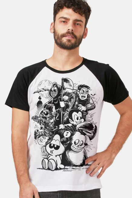 Camiseta Raglan Masculina Turma da Mônica Turma do Penadinho