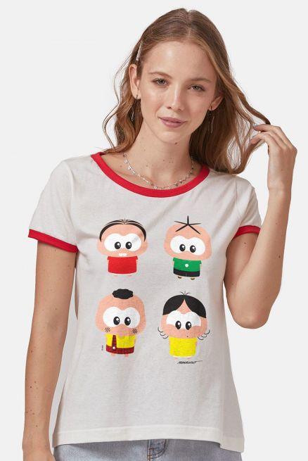 Camiseta Ringer Feminina Turma da Mônica A Turma Toy