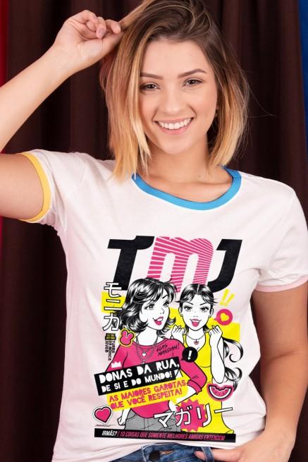 Camiseta Ringer Feminina Turma da Mônica Jovem Donas da Rua