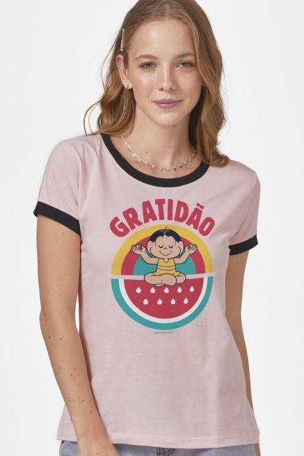 Camiseta Ringer Feminina Turma da Mônica Magali Gratidão