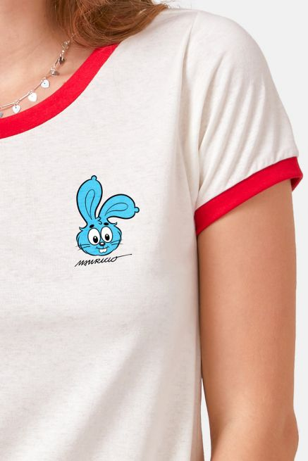 Camiseta Ringer Feminina Turma da Mônica Sansão