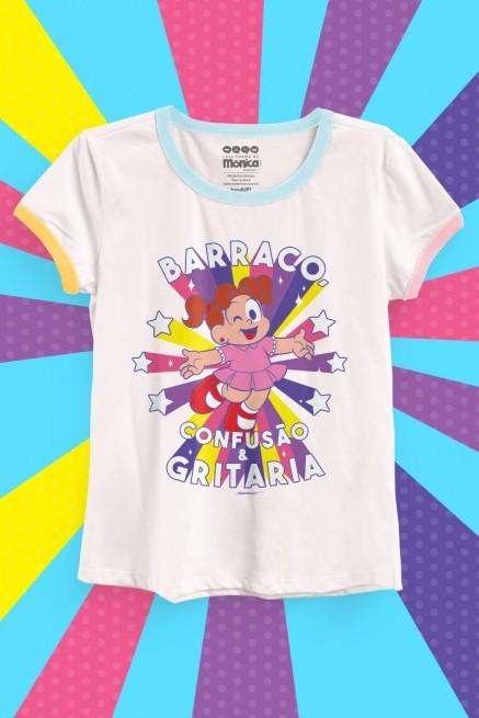 Camiseta Ringer Tricolor Feminina Turma da Mônica Denise Barraco, Confusão e Gritaria