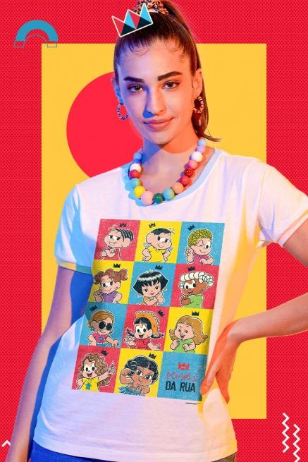 Camiseta Ringer Tricolor Feminina Turma da Mônica Donas da Rua Pop Art