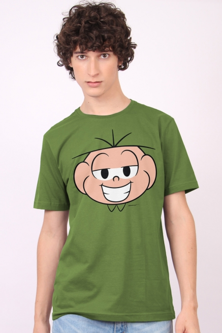 Camiseta Masculina Turma da Mônica Rostinho Cebolinha