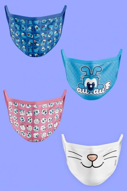 Kit com 4 Máscaras Turma da Mônica Bidu e Mingau