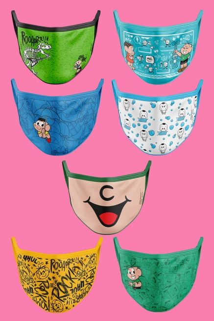 Kit com 7 Máscaras Turma da Mônica Cebolinha e Cascão