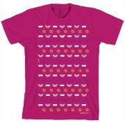 Camiseta Turma Da Mônica Kids Pink Ícones