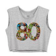 Blusa Cropped Maurício de Sousa 80 Anos Logo