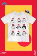 Camiseta Infantil Turma da Mônica Donas da Rua Rostinhos