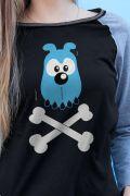 Camiseta Manga Longa Feminina Turma da Mônica Bidu Osso