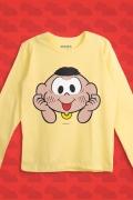 Camiseta Manga Longa Infantil Turma da Mônica Cascão Careta