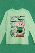 Camiseta Manga Longa Infantil Turma da Mônica Cebolinha Plano Infalível