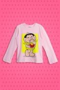 Camiseta Manga Longa Infantil Turma da Mônica Magali comendo Melancia