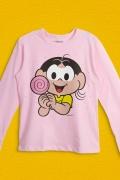 Camiseta Manga Longa Infantil Turma da Mônica Magali Pirulito