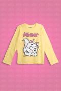 Camiseta Manga Longa Infantil Turma da Mônica Mingau Dormindo