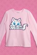 Camiseta Manga Longa Infantil Turma da Mônica Mingau MIAU