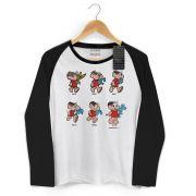 Camiseta Manga Longa Raglan Feminina Turma da Mônica 50 Anos Evolução Modelo 9
