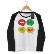 Camiseta Manga Longa Raglan Feminina Turma da Mônica Cool Ícones