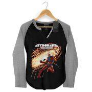 Camiseta Raglan Feminina Turma da Mônica Astronauta Singularidade