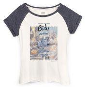 Camiseta Raglan Feminina Turma da Mônica Bidu Caminhos