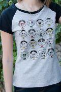 Camiseta Raglan Feminina Turma da Mônica Faces