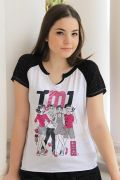 Camiseta Raglan Feminina Turma da Mônica Jovem Mônica e Cebolinha