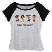 Camiseta Raglan Feminina Turma da Mônica Pixel Lovers
