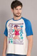Camiseta Raglan Masculina Turma da Mônica e Friends