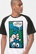 Camiseta Raglan Masculina Turma da Mônica Ícones Pop Art
