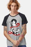 Camiseta Raglan Masculina Turma da Mônica Laços Cascão Laço