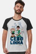 Camiseta Raglan Masculina Turma da Mônica Laços Cebolinha Zoeira Never Ends