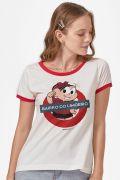 Camiseta Ringer Feminina Turma da Mônica Bairro do Limoeiro