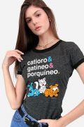 Camiseta Ringer Feminina Turma da Mônica Catioro e Gatíneo e Porquíneo